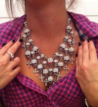 jewels skulls skull necklace bling alternative emo goth grunge grunge jewelry jewelry