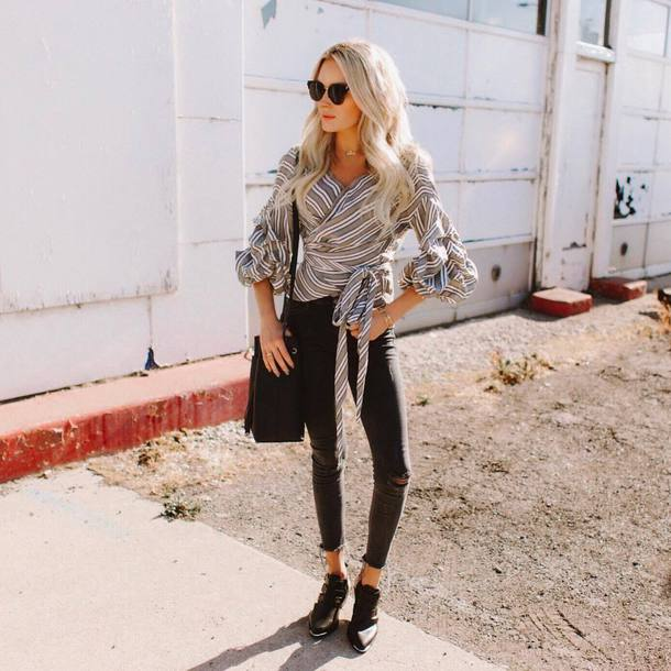 top tumblr grey top stripes striped top wrap top denim jeans black jeans skinny jeans boots ankle boots shoes