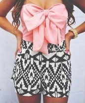 top,pink bow top,bow top,summer top,printed shorts,romper,shorts,jumpsuit,aztec,girly,feminine