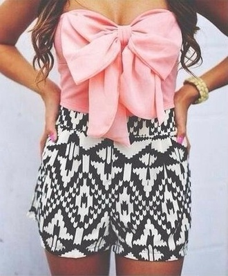 top pink bow top bow top summer top patterned shorts