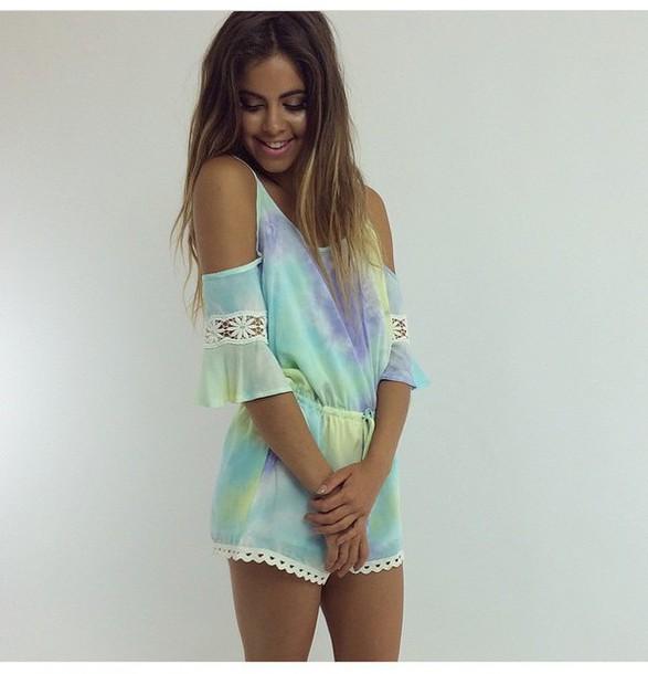 Jumpsuit pastel tie dye romper tumblr tie dye shorts tumblr outfit tie dye top - Wheretoget