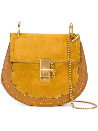 studded bag shoulder bag yellow orange