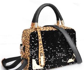 bag leopard print satchel bag leopard bag handbag fashion handbags cheap handbags sequins black satchel bag black satchel