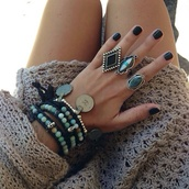 jewels,ring,big rings,boho ring,turquoise,teal,bracelets,beaded,dress,statement ring,vintage,black,black ring,black bracelets,light blue,blue rings,blue bracelet,perles,blue ring,tumblr fashion,sweater,knit,rings and tings,boho accessories,beeds,indie,gypsy,boho,bohemian,grunge