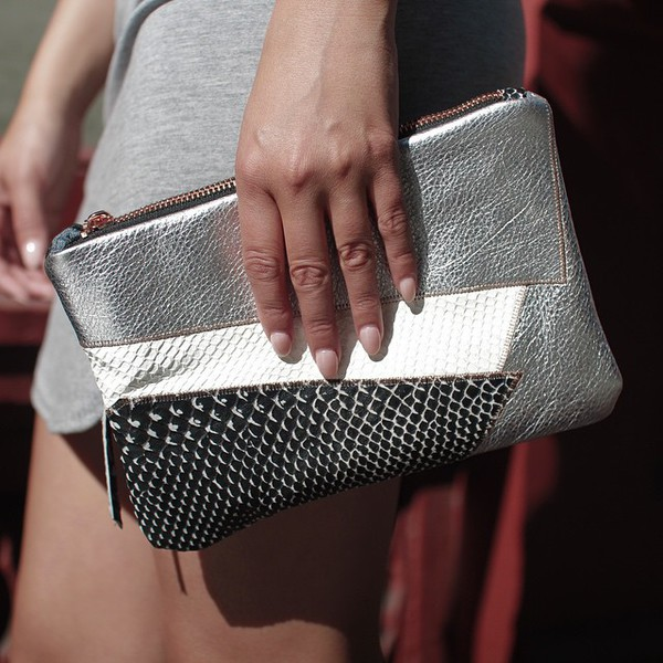 bag clutch silver metallic handmde handbag leather patchwork rose gold nails metallic clutch