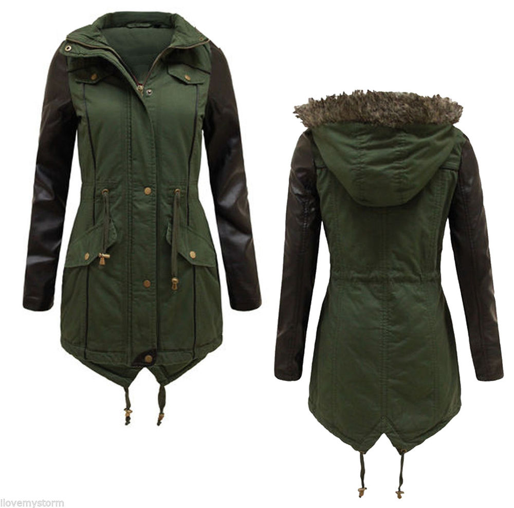 NEW LADIES WOMENS FAUX LEATHER PVC SLEEVE FUR HOODED MILITARY PARKA JACKET COAT | eBay