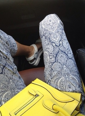 jeans bag shoes style cashmere pants satchel yellow paisley