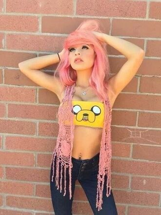 shirt adventure time sports bra jake yellow dog finn