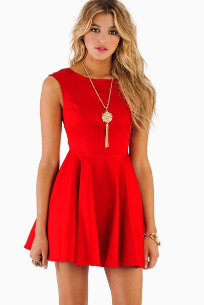 Dress: red, red dress, skater dress, red skater dress, cute dress ...