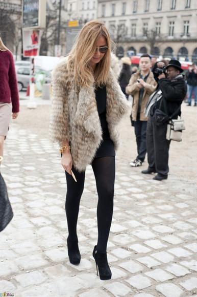jacket fur fourrure veste gales fausse streetstyle cool