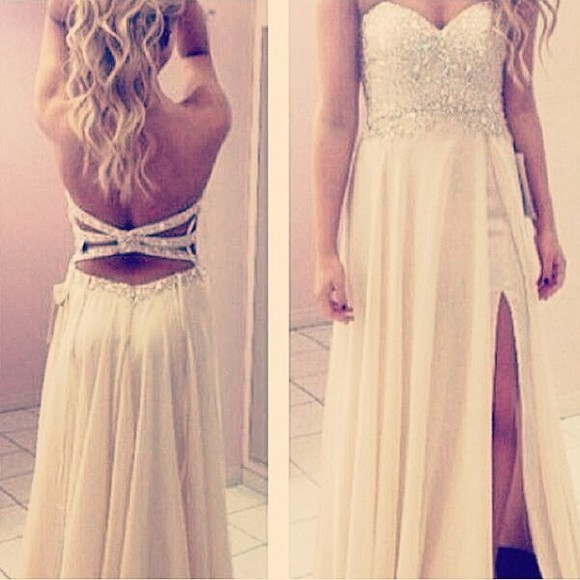 backless dress prom dress sparkly