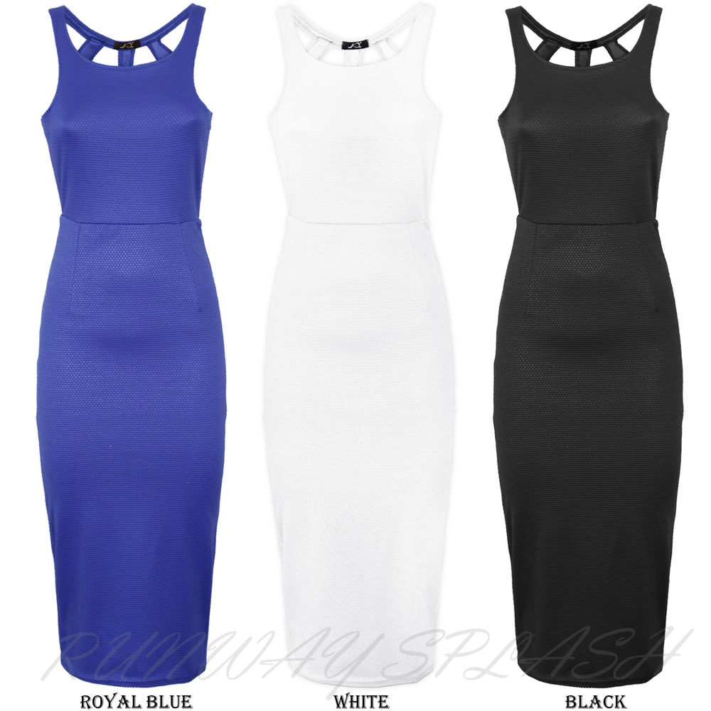 New Sexy Ladies Dress Cut out Detail Open Back Bodycon Midi Clubwear Size 8-14 | eBay