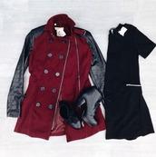 jacket,red,black,coat,faux leather,wool,winter coat,fall jacket