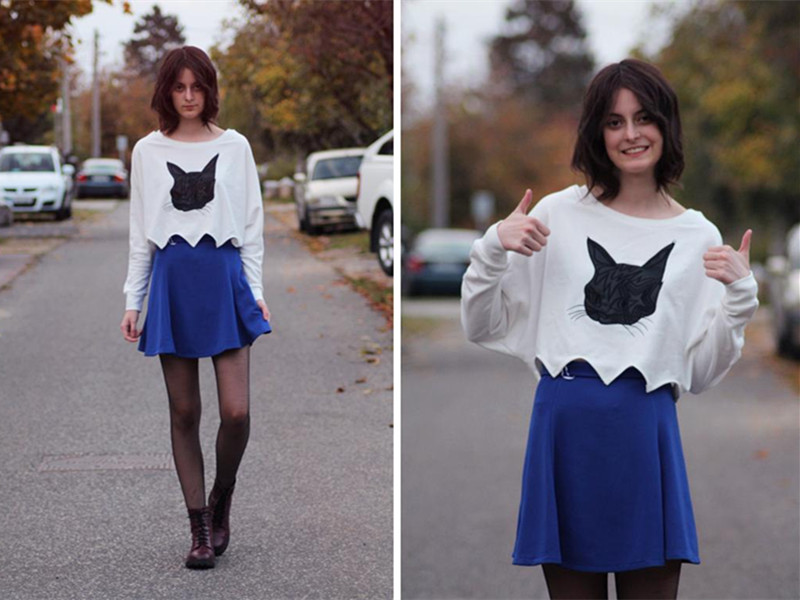 Crop Top With Cat Pattern | Choies