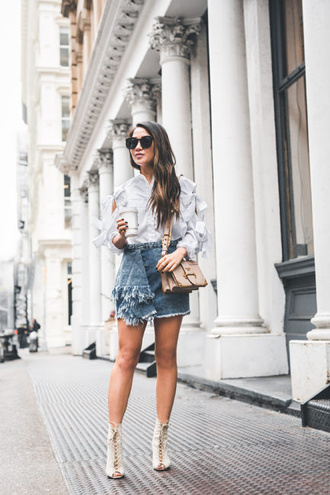 wendy's lookbook blogger top shirt shoes bag sunglasses shoulder bag denim skirt ankle boots blouse spring outfits