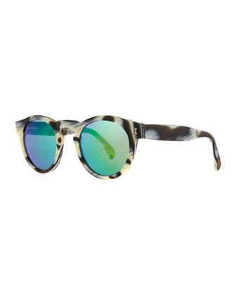 Illesteva Leonard Round Horn-Pattern Sunglasses with Mirror Lens - Neiman Marcus