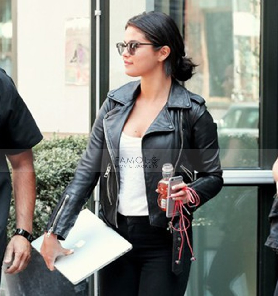 Selena Gomez Black Leather Stylish Jacket