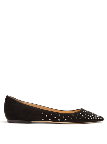 Jimmy Choo embellished flats suede black shoes
