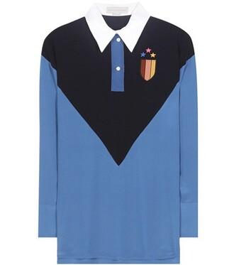 shirt embroidered silk blue top