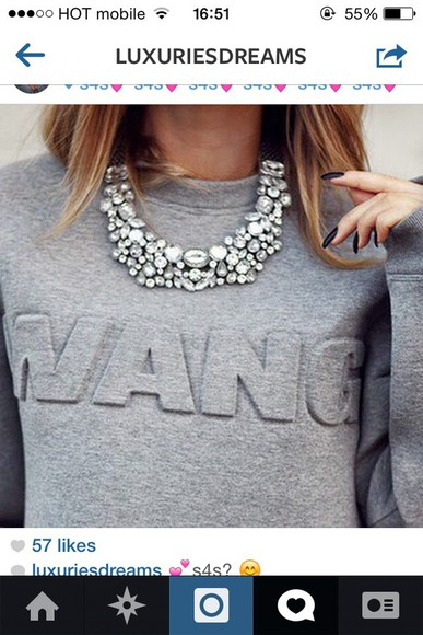 gray top wang gray t-shirts sweater blogger instagram