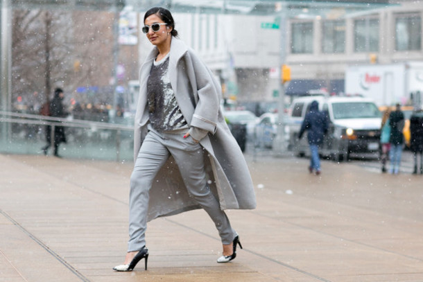 blouse metallic blouse tumblr tumblr outfit streetstyle fall outfits metallic silver top coat grey coat pants grey pants pumps high heel pumps sunglasses winter outfits winter look masculine coat