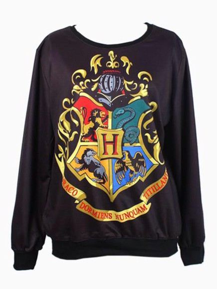 black yellow logo sweater hogwarts syltherrin ravenclaw geyfdindor snake lion raven eagle gryffindore slytherin hufflepuff gold red, blue, green