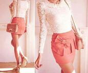 skirt,blouse,ribbon,pink