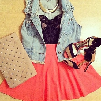 tank top cute lace heels studs denim jacket celebrity jewels shoes bustier lace bustier bralet skater skirt skirt denim jacket jeans pumps gold necklace necklace clutch pink coral peach gold clothes