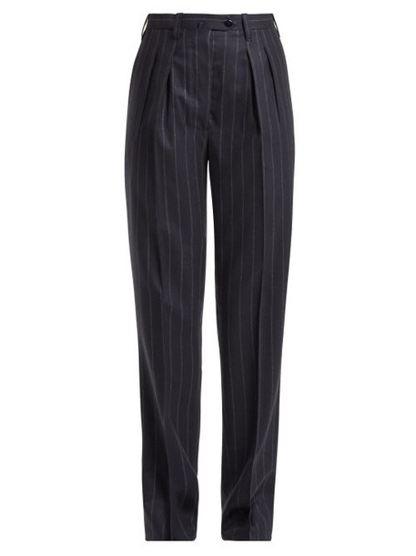 Giuliva Heritage Collection - Husband Pinstriped Wool Trousers - Womens - Navy Multi