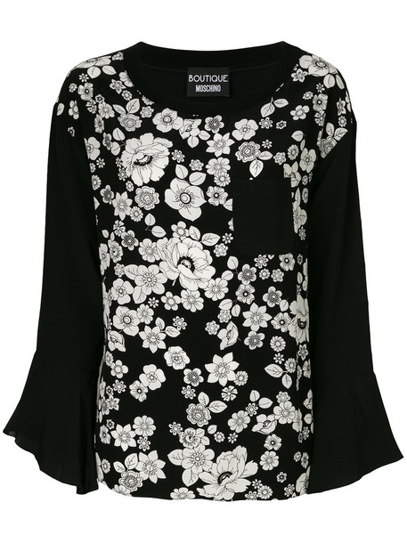 top long women floral black silk
