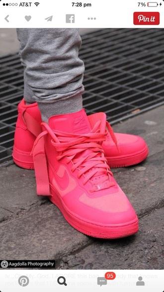 hot pink nike sneakers nike shoes high top sneakers girls sneakers