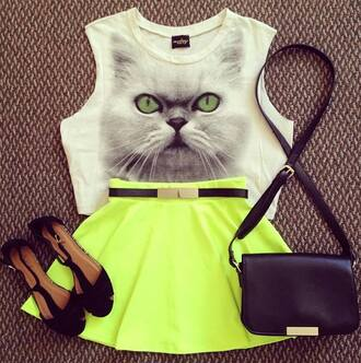 tank top meow cats neon skirt shoes shirt neon skirt neon green neon green skirt scuba skirt scuba skter skirt skater skirt instagram crop tops lime underwear top neon] cat cute top