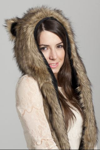 3d2fadbfab4 Wild Grizzly Bear Faux Fur Animal Hat Hood with Paws