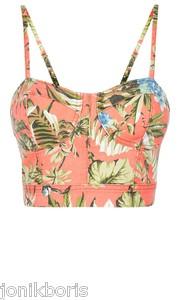 Denim co coral floral print bustier bralet crop top 6 8 10 12 14