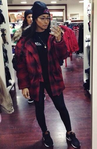 jacket red black bomber jacket platform shoes tartan checkered check checkers coat top t-shirt tshirt. beanie hat new balance trainers sneakers puffy hoodie jeans high waisted hair accessory