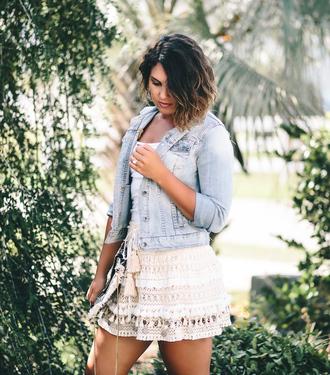 skirt mini skirt crochet fringe skirt denim jacket blogger blogger style
