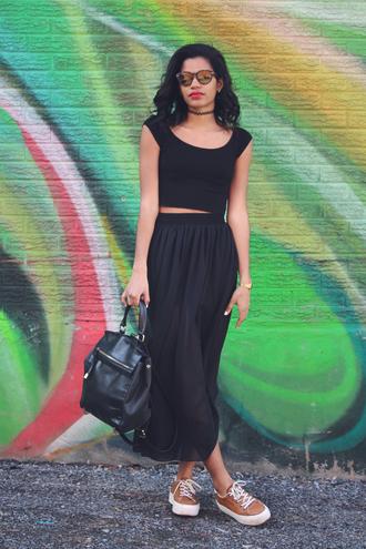 babes in velvet blogger sneakers maxi skirt black skirt black crop top leather backpack