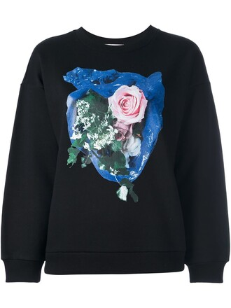 sweatshirt rose print black sweater