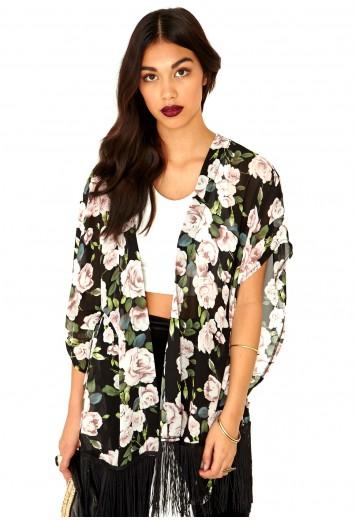 Krystle Rose Print Tasselled Kimono - Tops - Kimonos - Missguided