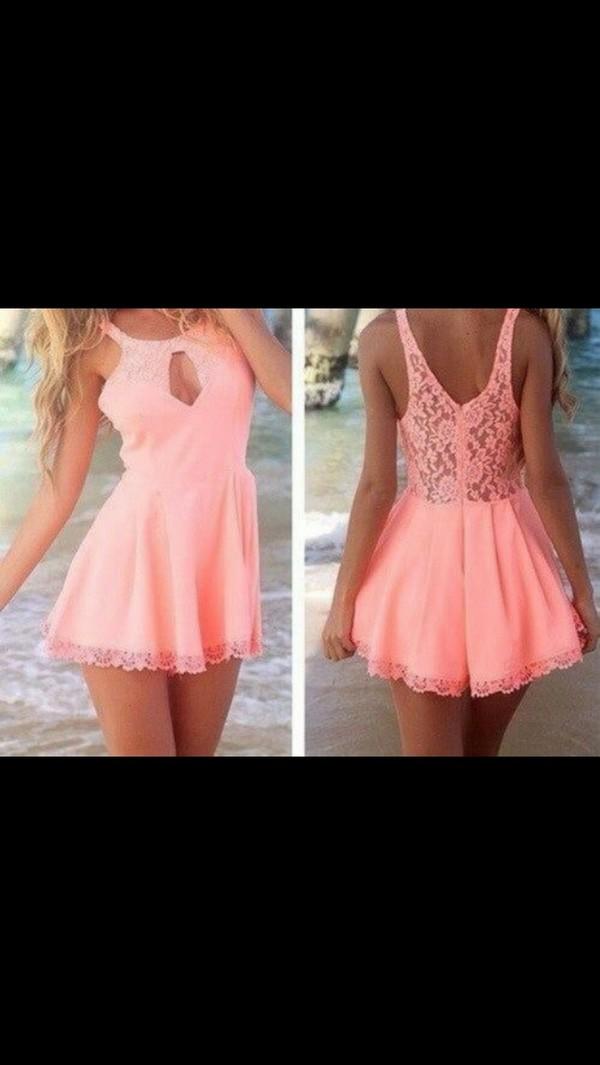 dress pink lace summer open front dress short dress