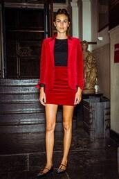coat,alexa chung,skirt,red velvet skirt,jacket