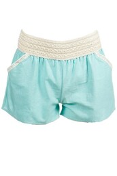 shorts,mint linen shorts with lace detail