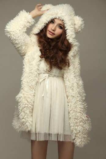 Hot Sale New Arrival Warm Lovely Bear Patterned Woolen Pure Color Hooded Coat Free Shipping White-in Basic Jackets from Apparel & Accessories on Aliexpress.com