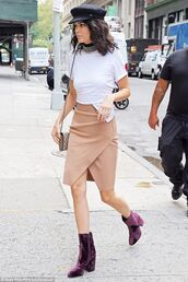 shoes,velvet boots,velvet,purple,purple boots,high heels boots,skirt,nude skirt,camel skirt,asymmetrical,asymmetrical skirt,t-shirt,white t-shirt,hat,black hat,bag,shoulder bag,kendall jenner,model,model off-duty,celebrity style,celebrity,choker necklace,necklace,Accessory,jewels,accessories,metal choker,silver choker,keeping up with the kardashians,kardashians,celebstyle for less,newsboy hat,cabby hat,fisherman cap,cap