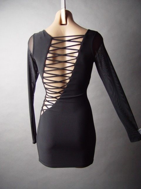 Sale Strappy Lace Up Criss Cross Open Back Sheer Mesh Slv Bodycon Mini Dress L | eBay