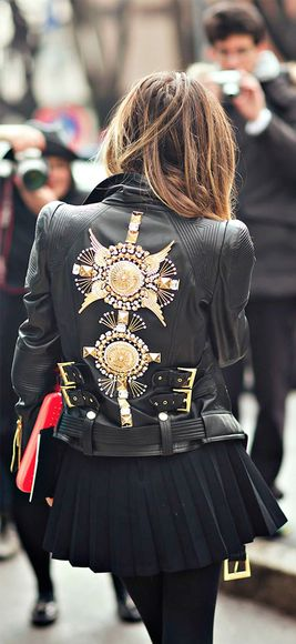 jacket london fashion week 2014 metallic streetstyle embellished leather jacket