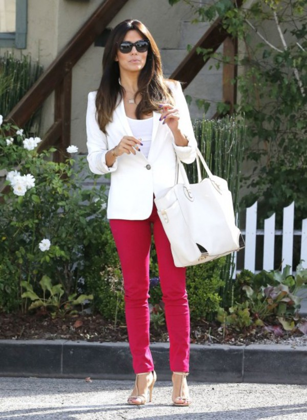 eva longoria pants shoes sandals blazer top jacket