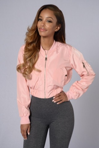 jacket bomber jacket pink pink bomber jacket pink jacket grey leggings black girls killin it