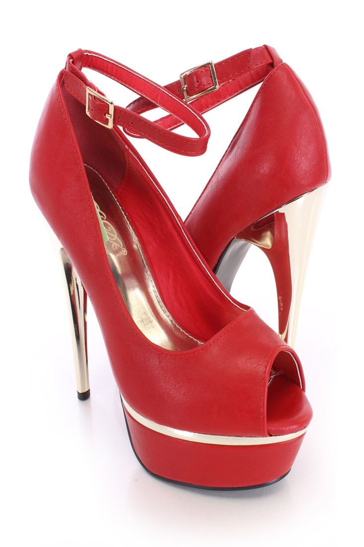 Red Peep Toe Platform Heels