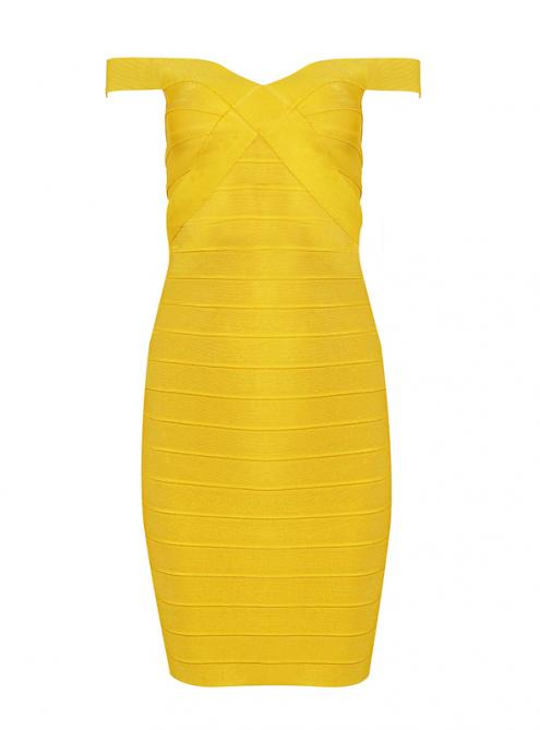 Yellow Off-shoulder Bandage Dress HL060$99